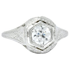 1915 Edwardian .63 Carat Diamond Platinum Engagement Ring