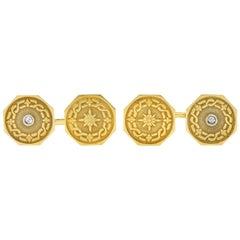 1915 Edwardian Old European Diamond 14 Karat Yellow Gold Men's Cufflinks