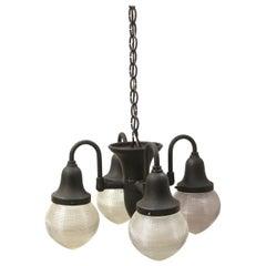 1915 Holophane Dental Pendant Light with Original Glass Shades Black Finish