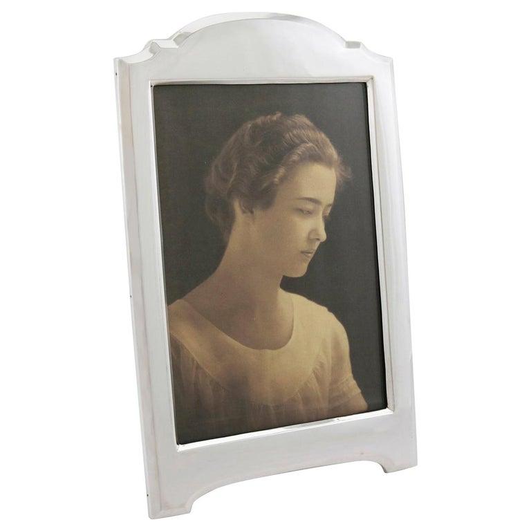 1916 Antique George V Sterling Silver Photograph Frame For Sale