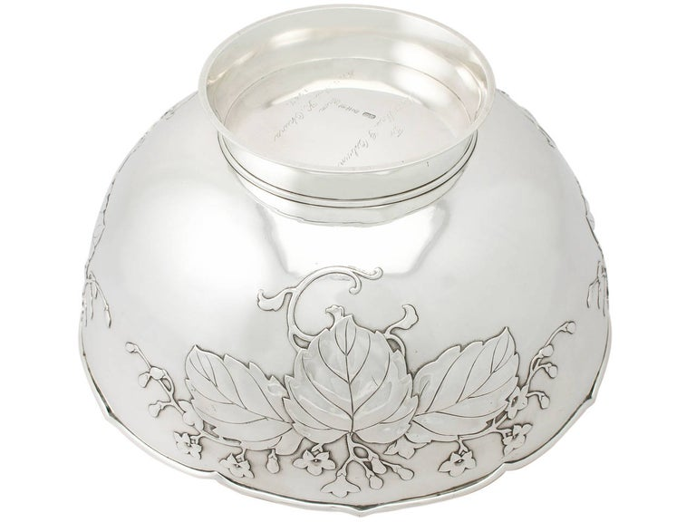 Antique 1917 Japanese Silver Presentation Bowl For Sale 3