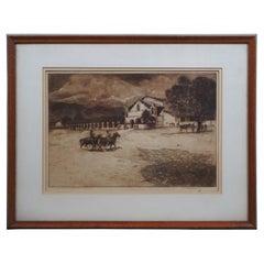 1917 Edward Borein San Antonio de Padua Mission Drypoint Etching