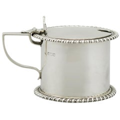 1918 Antique English Sterling Silver Drum Mustard Pot