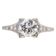 1918 Platinum 1.08 Carat Total Old Euro Diamond Engagement Ring