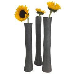 Tall Metallic Black Stoneware Vases '#7'