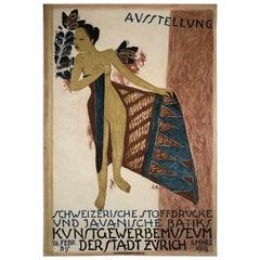 1919 Poster for Swiss Exhibition of Javanese Indonesian Batik Prints