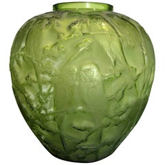 1919 Rene Lalique Perruches Vase Lime Green Glass, Parrots