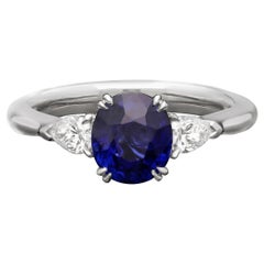 Hancocks 1.91carat Cushion Shaped Sapphire & Pear Shaped Diamond Ring