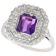 1.92 Carat Amethyst and 1.20 Carat Diamond, Platinum Dress Ring, circa 1920