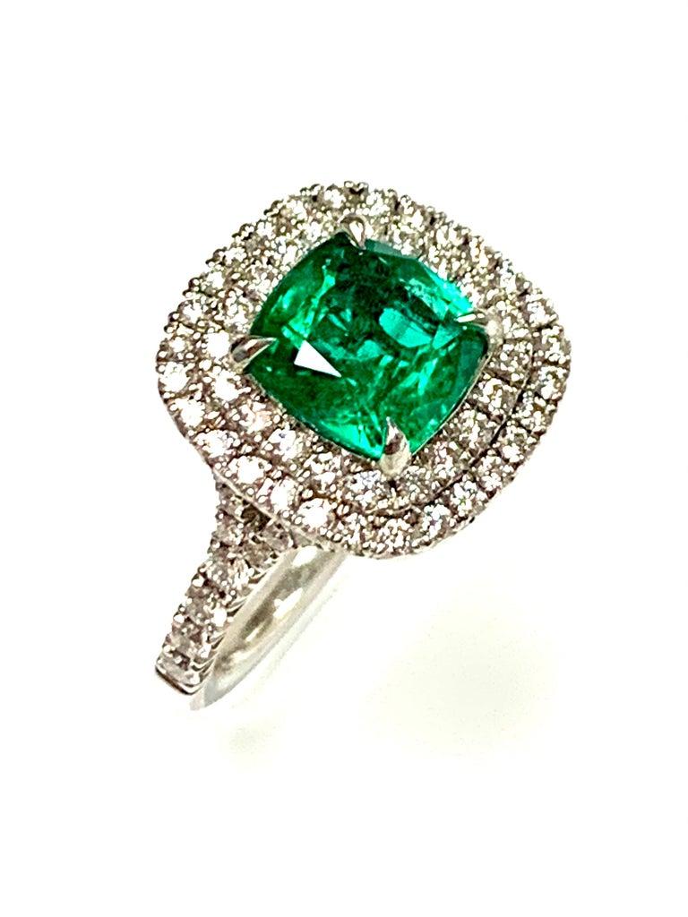 Modern 1.92 Carat Cushion Cut Zambian Emerald Diamond Cocktail Ring For Sale