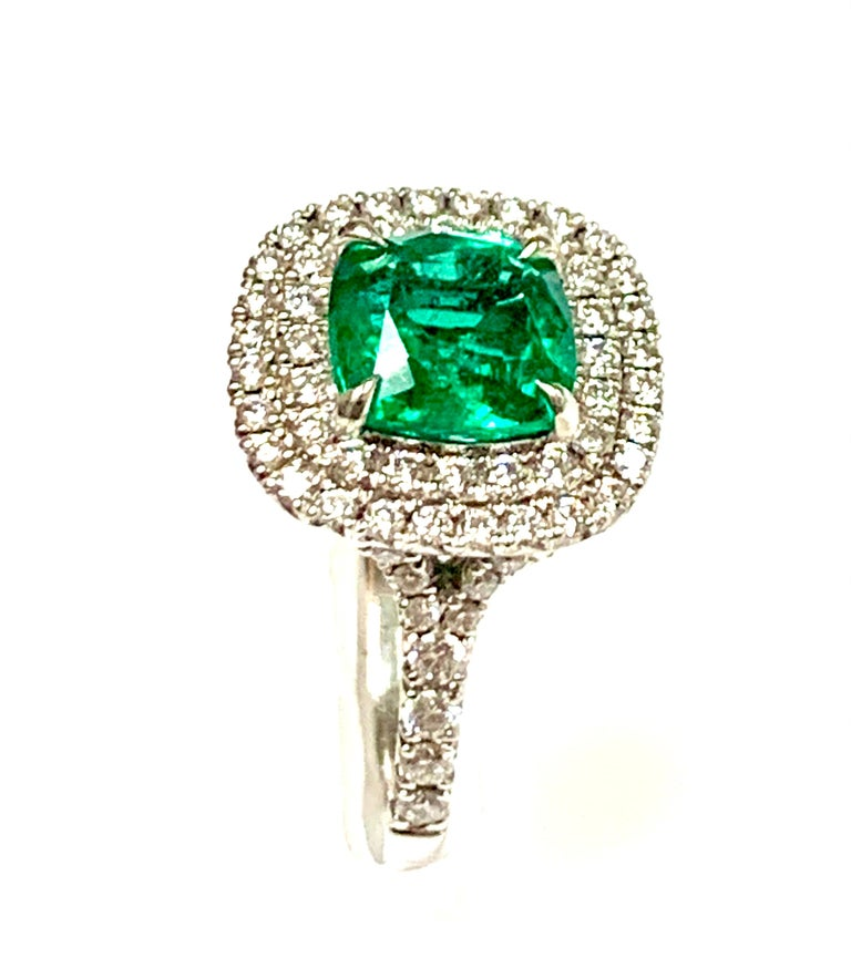 1.92 Carat Cushion Cut Zambian Emerald Diamond Cocktail Ring In New Condition For Sale In New York, NY