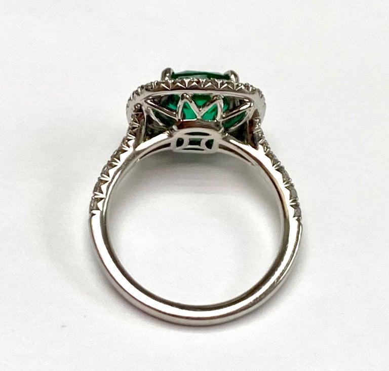 Women's 1.92 Carat Cushion Cut Zambian Emerald Diamond Cocktail Ring For Sale