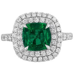 1.92 Carat Cushion Cut Zambian Emerald Diamond Cocktail Ring