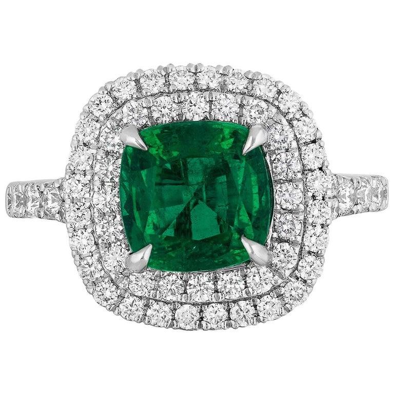 1.92 Carat Cushion Cut Zambian Emerald Diamond Cocktail Ring For Sale