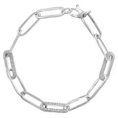 1.92 Carat Diamond Paper Clip Bracelet in 14K White Gold