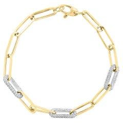 1.92 Carat Diamond Paper Clip Bracelet in 14K Yellow Gold