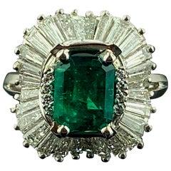 1.92 Carat Emerald and Diamond Ring in Platinum