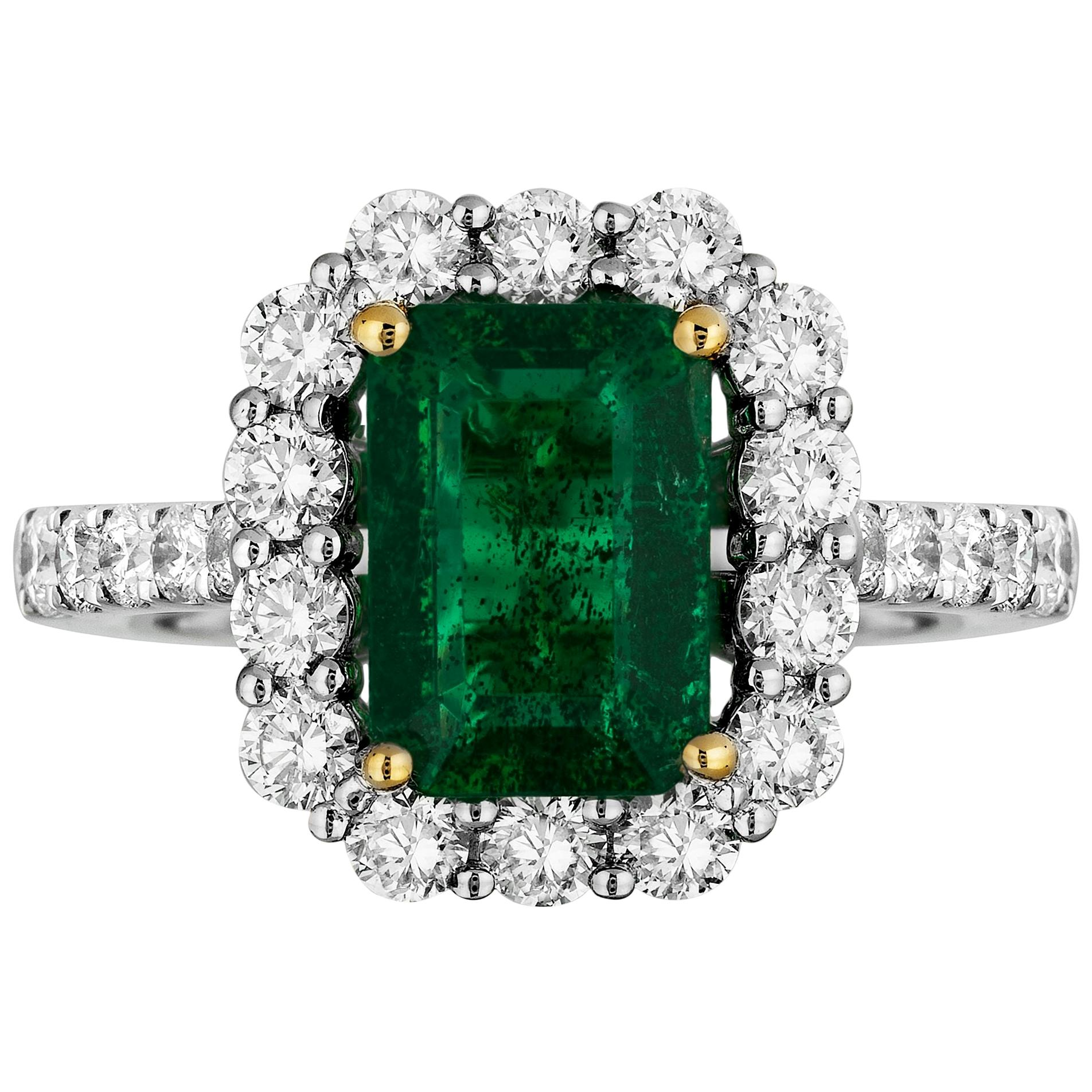 1.92 Carat Emerald Diamond Cocktail Ring