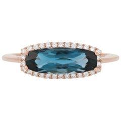 1.92 Carat London Blue Topaz and Diamond Ring, 14 Karat Rose Gold Halo
