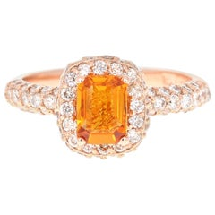 1.92 Carat Orange Sapphire Diamond 14 Karat Rose Gold Ring