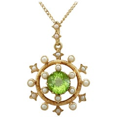 1.92 Carat Peridot and Seed Pearl, Yellow Gold Pendant, Antique, circa 1900