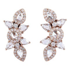 1.92 Carat Rose Cut Diamond 18 Karat Gold Stud Earrings