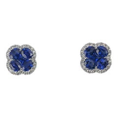 1.92 Carat Vivid Blue Sapphire and 0.23 Carat Diamond Clover Stud Earrings