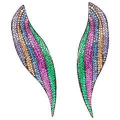 "19.2 Karat Multi-Color Gemstone ""Long Leaf"" Chandelier Earrings"