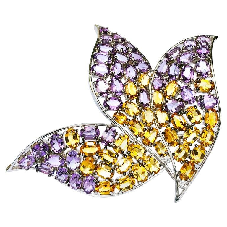19.2 Karat White Gold, Diamond, Amethyst and Citrine Topaz Contemporary Brooch For Sale