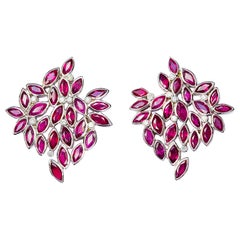 Contemporary Marquise Cut Rubi and Diamond Earrings in 19.2 Karat White Gold
