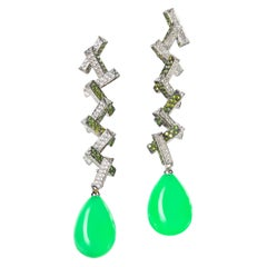 Green Opal and Diamond Chandelier Earrings in 19.2 Karat White Gold