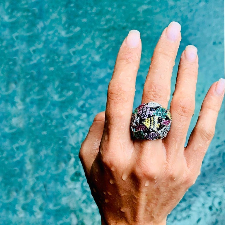 Multi-Color Gemstone Cocktail Ring in White and Yellow Gold For Sale 3