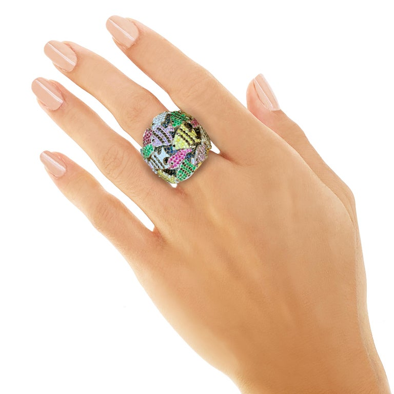 Multi-Color Gemstone Cocktail Ring in White and Yellow Gold For Sale 2