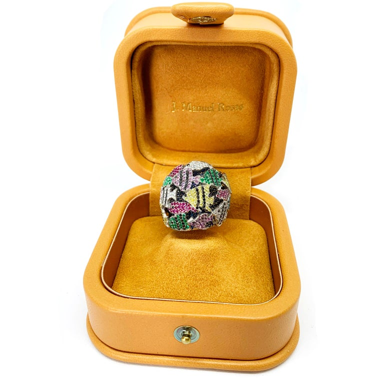 Women's or Men's Multi-Color Gemstone Cocktail Ring in White and Yellow Gold For Sale