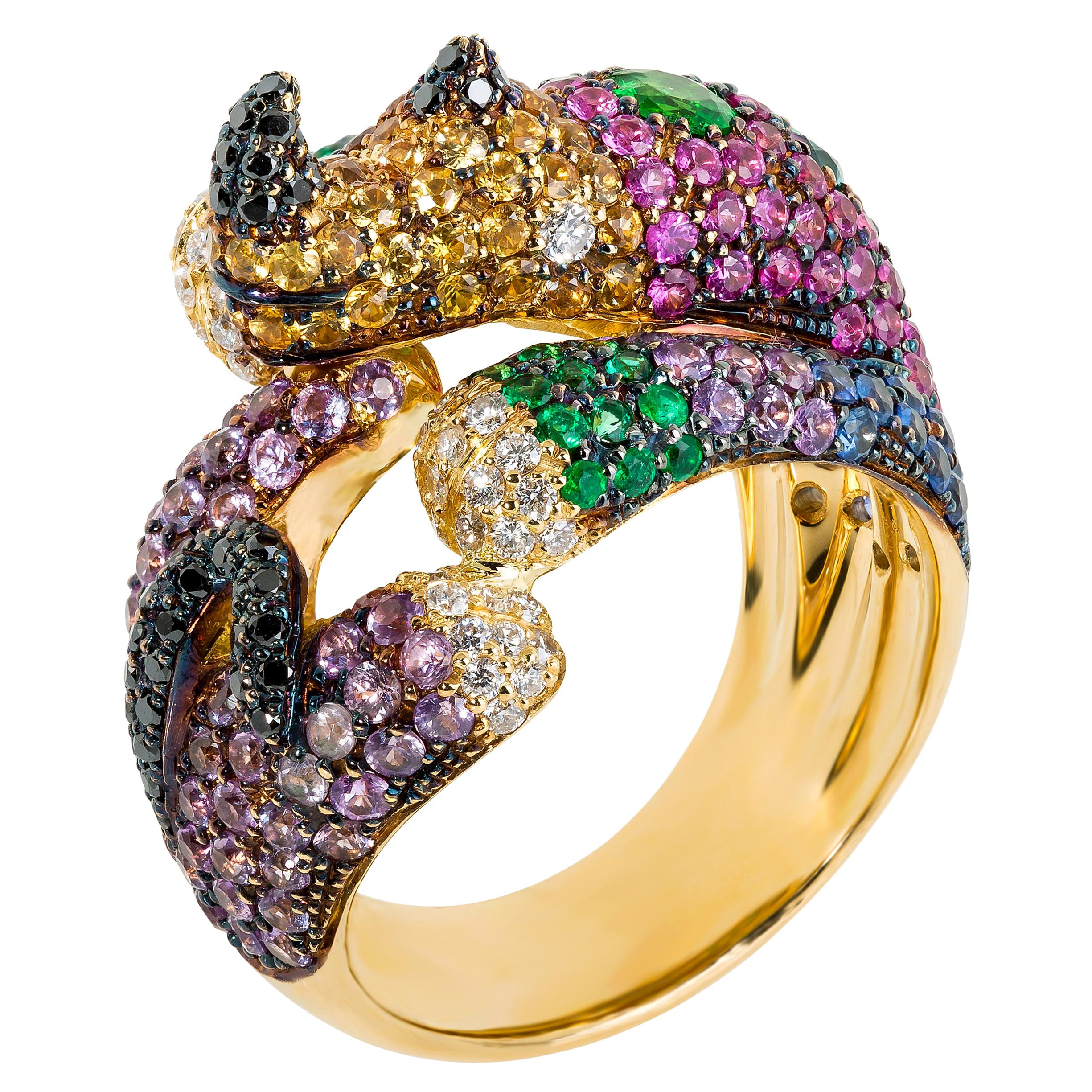 """Multi-Color Gemstone and Yellow Gold """"Baby Rhino"""" Cocktail Ring"""