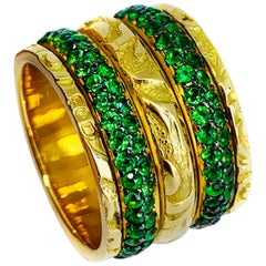 """19.2 Karat Yellow Gold and Tsavorite Hand Engraved """"Side-by-Side turn"""" Ring"""