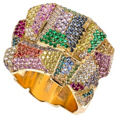 19.2 Karat Yellow Gold Cocktail Ring with Multi-Color Gemstones