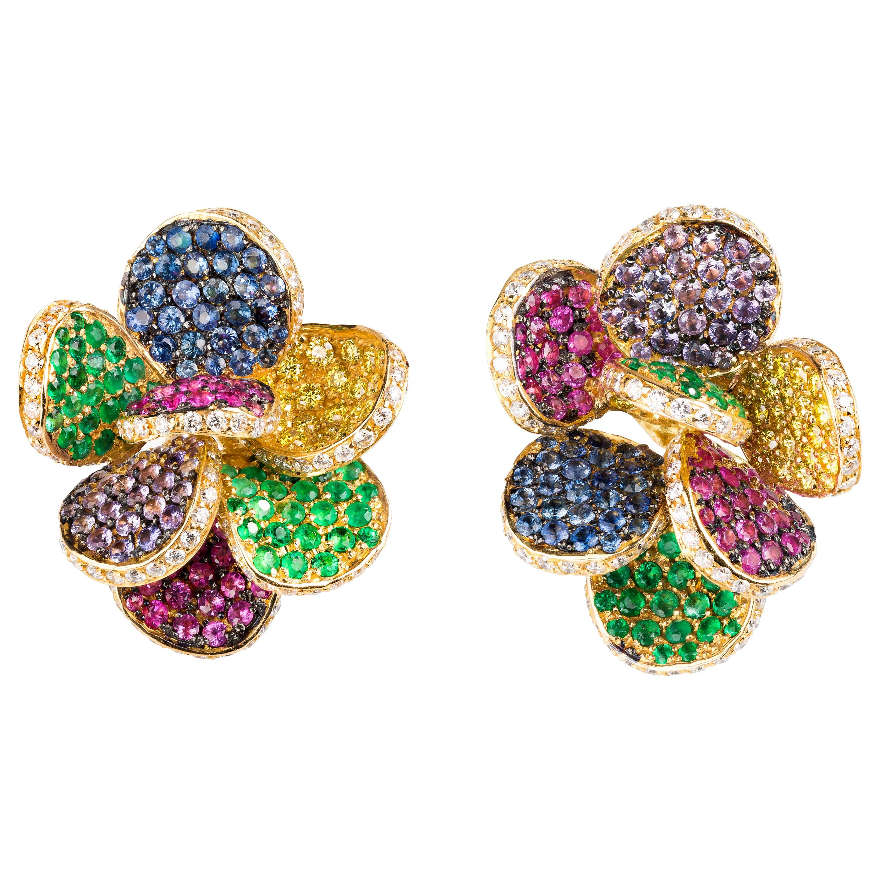 """Diamond, Sapphire and Emerald Contemporary Yellow Gold """"Petal"""" Earrings"""