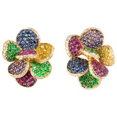 19.2 Karat Yellow Gold, Diamond, Emerald and Sapphire Contemporary Earrings