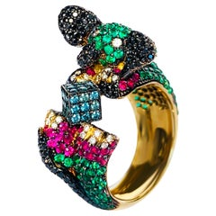 "19.2 Karat Yellow Gold, Diamond, Emerald, Rubi, ""baby elephant"" Cocktail Ring"