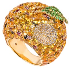 "19.2 Karat Yellow Gold, Diamond, Sapphire and Tsavorite Cocktail ""Apple"" Ring"