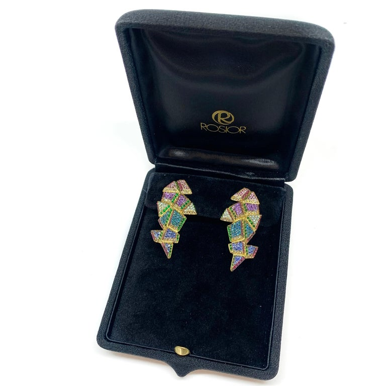 Contemporary 19.2 Karat Yellow Gold Multi-Color Gemstone Drop Earrings For Sale