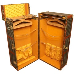 1920s-1930s Goyard Trunk, Goyard Wardrobe Double Hanging Section Steamer Trunk