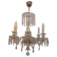 1920-1940 Bohémian or Baccarat Crystal Chandelier 6 Arms