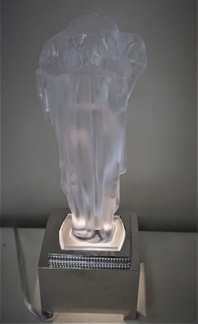 1920-1930 Sèvres Art Deco Crystal Sculpture Table Lamp For Sale 7