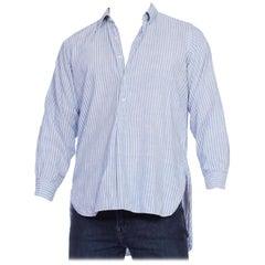1920/30's Mens Organic Blue Striped Linen Shirt