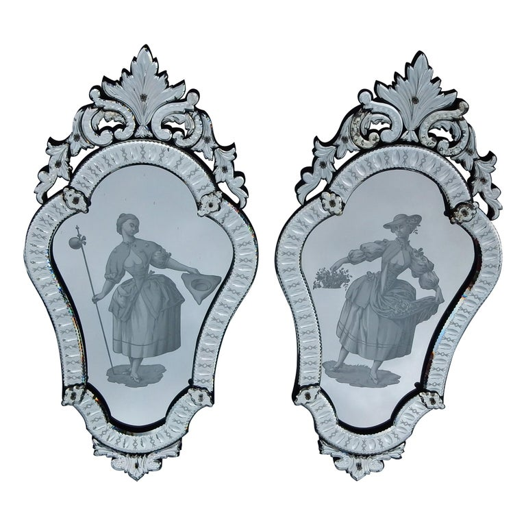 1920-1940 Pair of Mirrors with Elegant Women For Sale