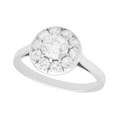 1920 Antique 1.84 Carat Diamond and Platinum Cluster Ring