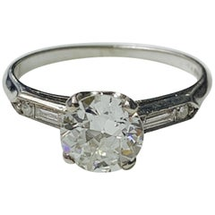 1920 Antique Old European Cut Diamond Engagement Ring in Platinum