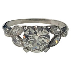 1920 Antique Old European Cut Diamond Ring in Platinum